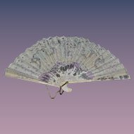 Old Doll Fan Fancy W/ Tassel Wood & Paper Unusual