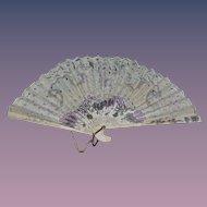 Old Doll Fan Fancy W/ Tassel Wood & Paper Unusual