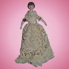 Antique Doll Bisque Dollhouse Lady Dressed Fancy Bun