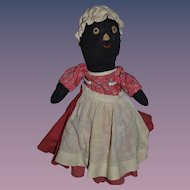 Old Doll Black Cloth Doll Rag Doll Folk Art Sewn Features Stockinette