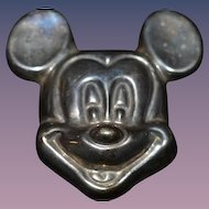 Old Sterling Mickey Mouse Pendant Pin Necklace Adorable