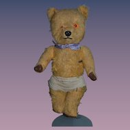 Old Teddy Bear Jointed Mohair Leather Paws Sweet Size For Doll to Love