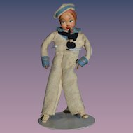 Old Miniature Cloth Doll Sailor W/ Pipe Felt Sweet!!