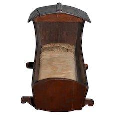 Old Wood Folk Art Doll Baby Bed Cradle Doll Rocking Bed
