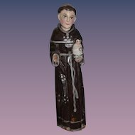 Old Wood Creche Doll W/ Baby Religious Carved Wood Statue
