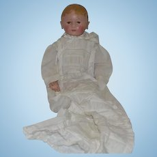 Antique GORGEOUS Martha Chase Oil Cloth Doll In Antique Christening Gown Large