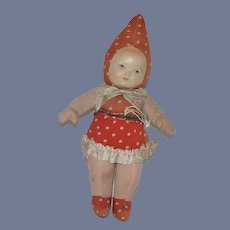 Wonderful Old Cloth Doll Celluloid Face Strawberry Doll Polka Dots
