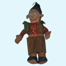 Old Cloth Doll Mask Face Elf Unusual Straw Stuffed CUTE