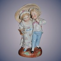 Old Porcelain Doll Children Figurine Under a Parasol Sweet ADORABLE