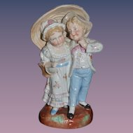 Old Porcelain Doll Children Figurine Under a Parasol Sweet ADORABLE