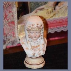 Antique Doll Child Bust Miniature Figurine Bisque Sweet