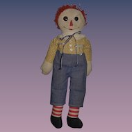 ANOTHER Great Raggedy Andy Cloth Doll Button Eyes Rag Doll SWEET!