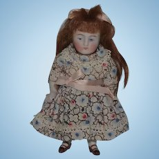 Antique Doll Miniature All Bisque # 130 Jointed Dollhouse Sweet Double Strap Brown shoes Kestner