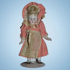 Antique Doll All Bisque Miniature Doll French Loop Swivel Head Jointed Sweet Outfit Sonneberg