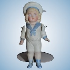 Antique Doll Miniature All Bisque Sailor Dollhouse Jointed
