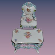 Old Doll Miniature Porcelain Table & Chair Ornate Dollhouse