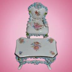 Old Doll Miniature Porcelain Table & Chair Ornate Dollhouse