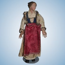 Antique Doll Creche Lady Original Clothing Wonderful