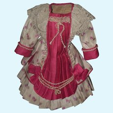 Wonderful Doll Dress Beaded Lace  Fancy For Your French or French Market Bisque Doll HAND SEWN WOW