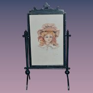 Wonderful Water Color Watercolor Painting of French Doll In Standing Frame
