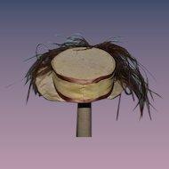 Old Doll Hat Fancy Wide Brim Feather Sweet Size