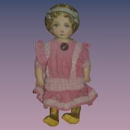 Old Doll Large Cloth Doll Rag Doll Feb. 13 1900 Printed Fabric Doll Sweet