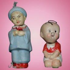 Old All Bisque Doll Set Oriental Miniature Nodders Dollhouse German