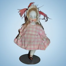 Old Doll Miniature All Bisque Doll Jointed Fancy Double Strap Shoes Dollhouse