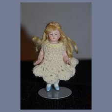 Antique Doll Miniature All Bisque Frozen w/ Jointed Arms Sweet Dollhouse