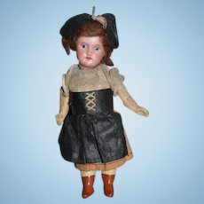 Antique Doll Miniature Bisque Dollhouse Original Clothing