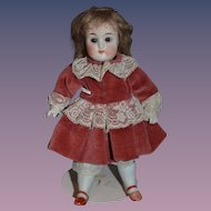 Old All Bisque Doll Jointed Glass Eyes Cabinet Petite Size German