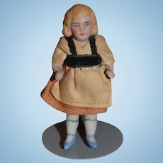 Old Doll Miniature Dollhouse Jointed Sweet All Bisque Factory Clothes