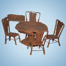 Old Doll Miniature Dollhouse Wicker & Metal Furniture Table & Chairs and Plant Stand