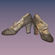 Old Doll or Child's Shoes Heels Fancy New York Morris Lapidus WONDERFUL Rare