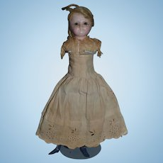 Antique Doll Wax Head Glass Eyes Wood Limbs