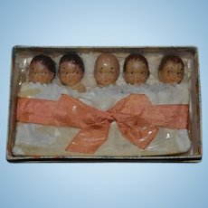 Old Doll Miniature Soap Quintuplets in Original Boxed Set Character Dolls Castille