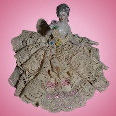 Antique Doll Miniature Half Doll China Head Arms Away Pincushion Dressel & KIster