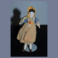 Antique Doll Miniature China Head Dollhouse Factory Original Clothing