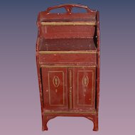 Old Doll Miniature Dollhouse Tole Painted Cabinet Wood
