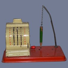 Old Doll Miniature Cash Register Tin  Metal Working For Miniature Store Dollhouse