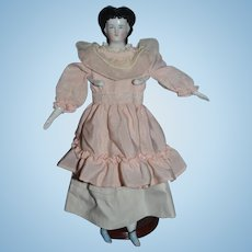 Antique Doll China Head Early Rare China Conta Boehme Elaborate Hair style Rare Snood Petite Cabinet Size