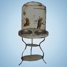 Antique Doll Miniature Wash Stand Faucet Double Sink Tin Vanity Wonderful