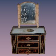 Antique Doll Chest Miniature Vanity Gilt Accents Faux Tortoise Finish For Mignonette