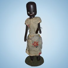 Old Doll Black Doll Wood Doll Jointed Carved Unusual