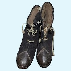 Antique Doll Shoes Unusual Leather Tips Lace Up Wool Boots