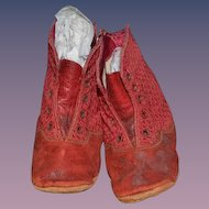 Antique Doll Child's Red Leather and Cloth Fancy Lace up Doll Shoes Boots