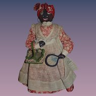 Old Black Cloth Doll Stockinette Mrs. Jefferson Davis Weir 1930's Signed Character Doll In OMCA Collection