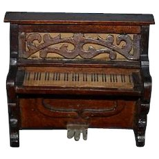 Old Doll Miniature Wood Ornate Piano Dollhouse Litho Keys Carved