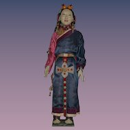 Old Doll Huge Papier Mache Oriental Doll Fancy Original Clothing Fancy Detail on Wood Stand Khama Doll
