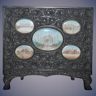 Old Ebony Carved Wood Frame w/ Miniature Watercolor Painting five Paintings